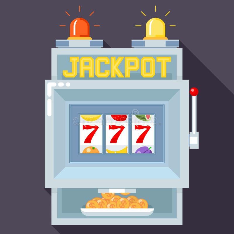 赌博娱乐场槽孔赌博的机器 传染媒介UI比赛模板 向量例证