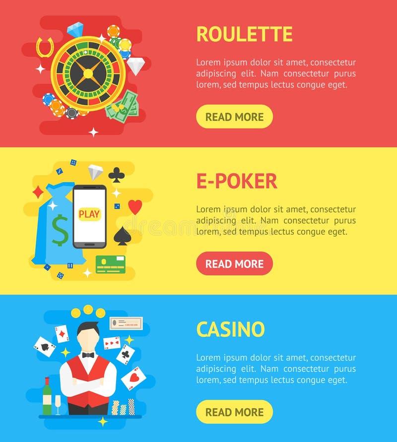 赌博娱乐场横幅水平的集合符号赌博游戏 向量 向量例证