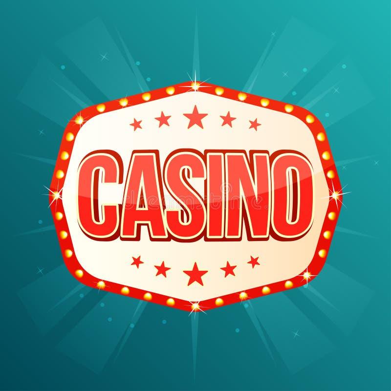 赌博娱乐场横幅 与辉光灯的减速火箭的轻的框架 库存例证