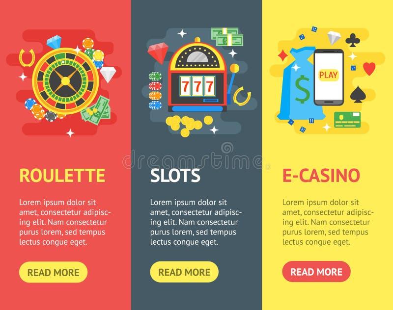 赌博娱乐场横幅Vecrtical集合赌博游戏 向量 库存例证