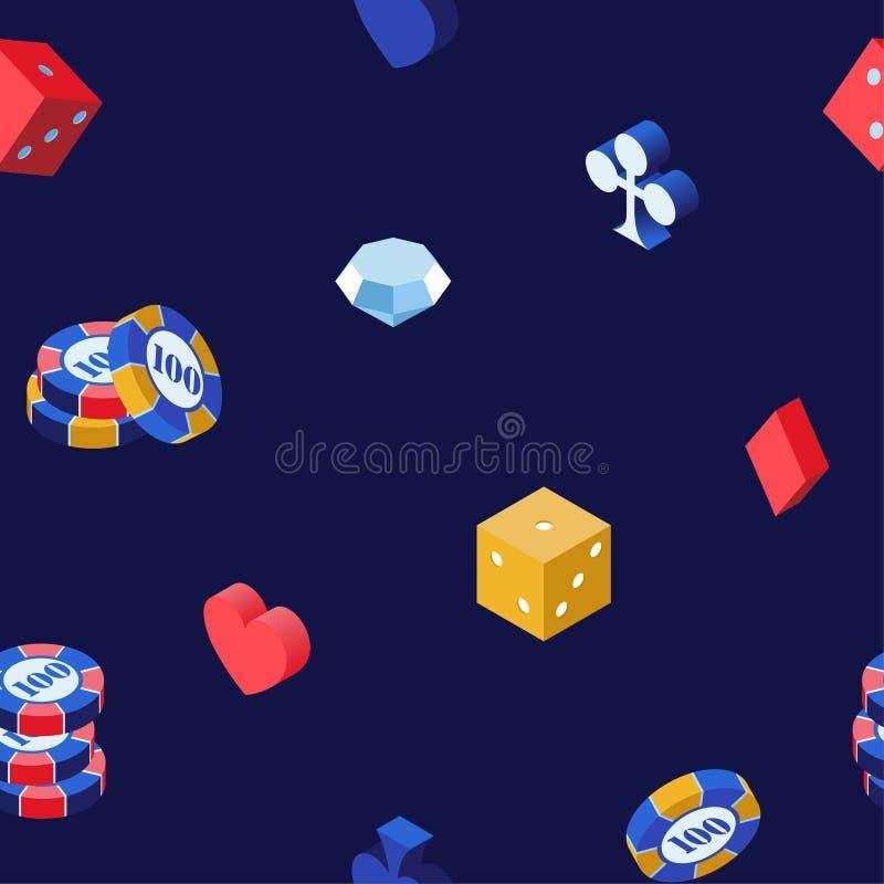 赌博娱乐场比赛3d传染媒介无缝的样式 纸牌筹码、等量模子和金刚石在蓝色背景 心脏,锹,俱乐部 库存例证