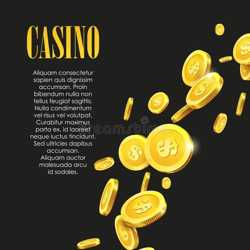 赌博娱乐场海报背景或飞行物与金黄金钱硬币 库存例证