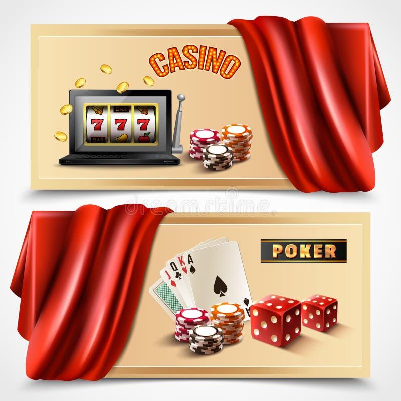 赌博娱乐场现实横幅集合 皇族释放例证