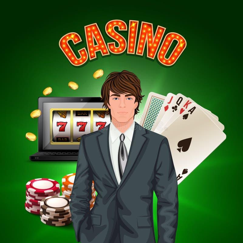 赌博娱乐场球员现实构成 向量例证
