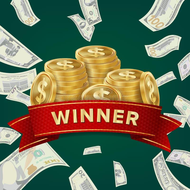 赌博娱乐场的大胜利广告牌 优胜者标志 困境得奖的设计 背景铸造货币 皇族释放例证
