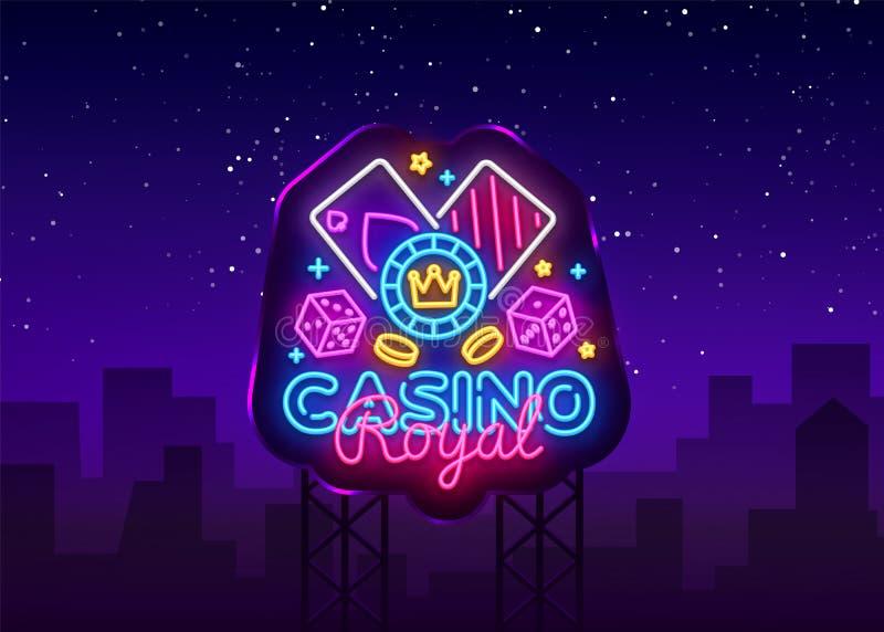 赌博娱乐场皇家霓虹商标传染媒介 赌博娱乐场霓虹灯广告,设计模板,现代趋向设计,赌博娱乐场霓虹牌,夜 向量例证