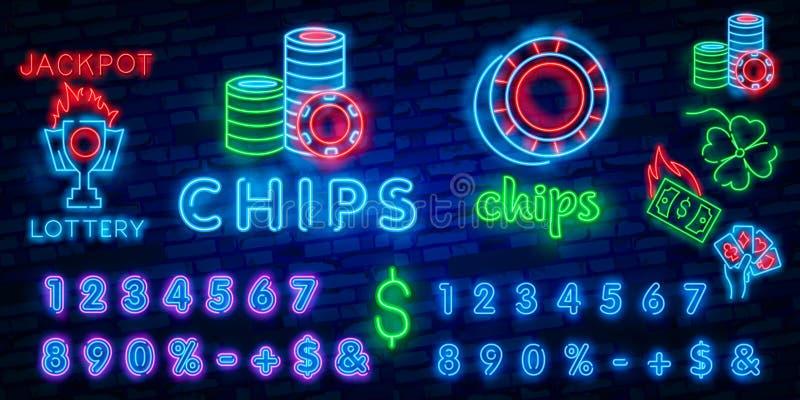 赌博娱乐场皇家霓虹商标传染媒介 赌博娱乐场芯片霓虹灯广告,设计模板,现代趋向设计,赌博娱乐场霓虹牌 皇族释放例证