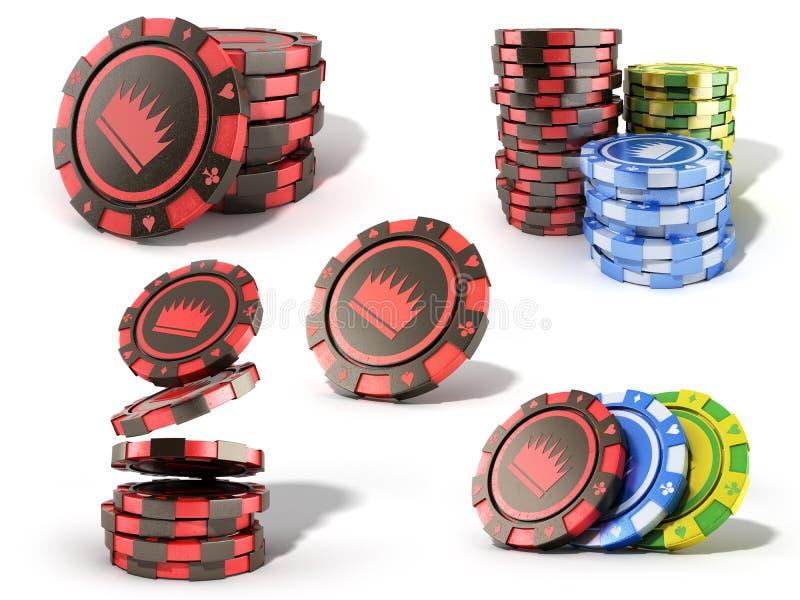 赌博娱乐场红色芯片堆的汇集在白色realisti隔绝的 向量例证