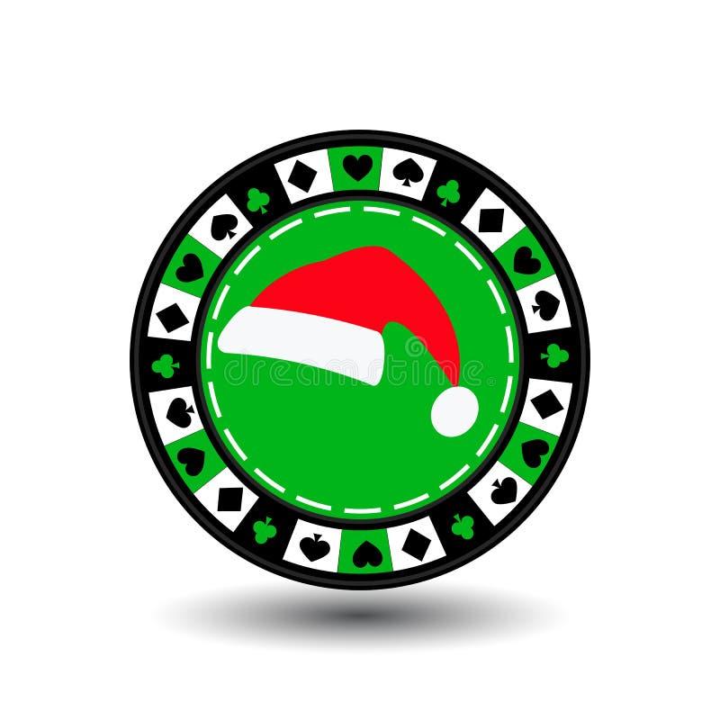 赌博娱乐场纸牌筹码圣诞节新年 在容易地分离的白色背景的象EPS 10例证 网站的用途, 皇族释放例证