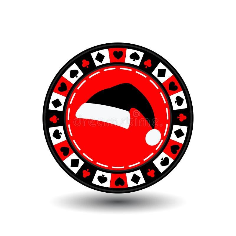 赌博娱乐场纸牌筹码圣诞节新年 在容易地分离的白色背景的象EPS 10例证 网站的用途, 向量例证
