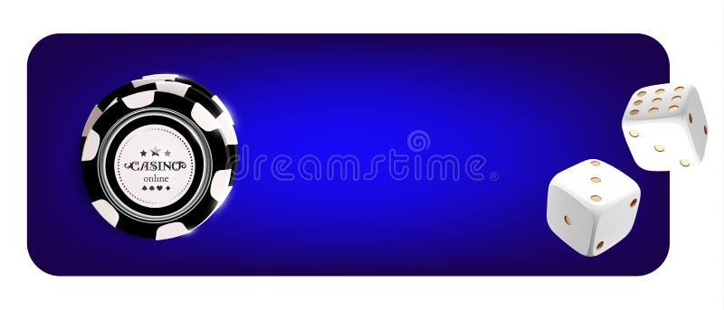 赌博娱乐场纸牌筹码,在蓝色背景的模子顶视图  网上与黑白芯片比赛的赌博娱乐场宽横幅 皇族释放例证