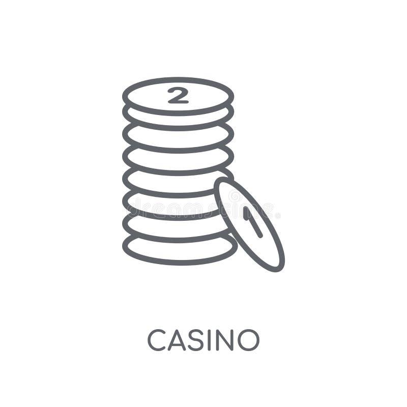 赌博娱乐场线性象 在白色的现代概述赌博娱乐场商标概念 向量例证