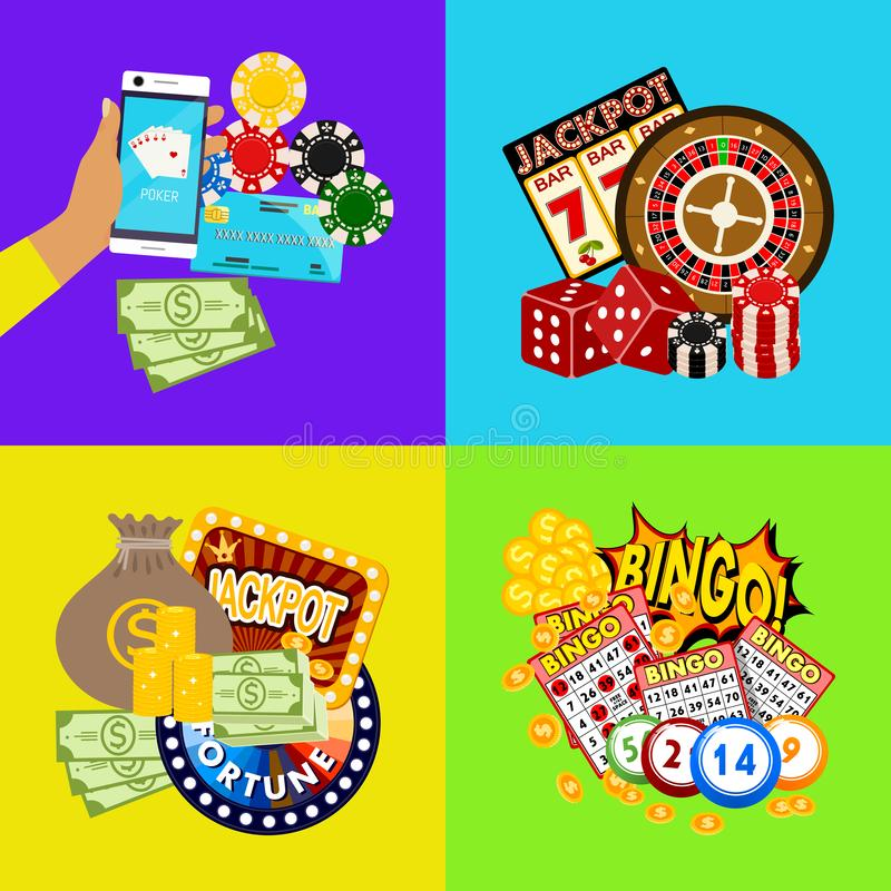 赌博娱乐场网上横幅传染媒介例证 包括轮盘赌,赌博娱乐场芯片,纸牌,赢得困境金钱 r 库存例证