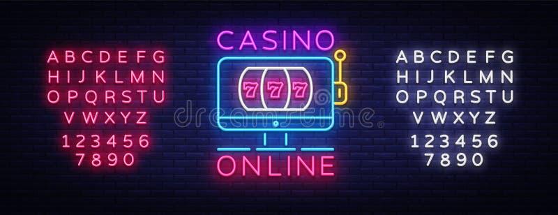赌博娱乐场网上霓虹灯广告传染媒介 赌博娱乐场设计模板霓虹灯广告,轻的横幅,霓虹牌,现代趋向设计 库存例证
