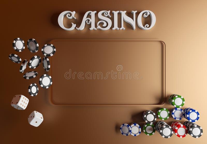赌博娱乐场背景模子和芯片 与地方的网上赌博娱乐场桌概念文本的 白色模子和芯片顶视图  皇族释放例证