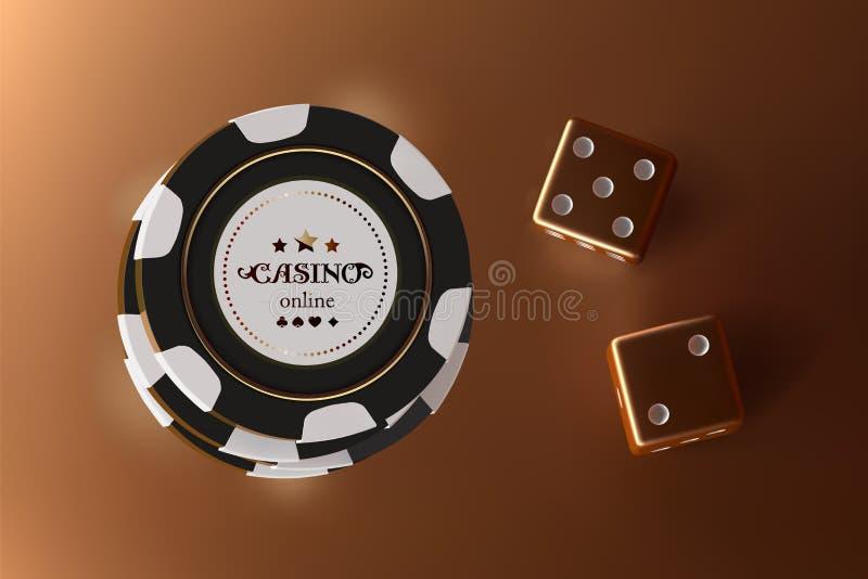 赌博娱乐场背景模子和芯片 金黄模子和芯片顶视图在金背景 网上赌博娱乐场桌概念与 向量例证