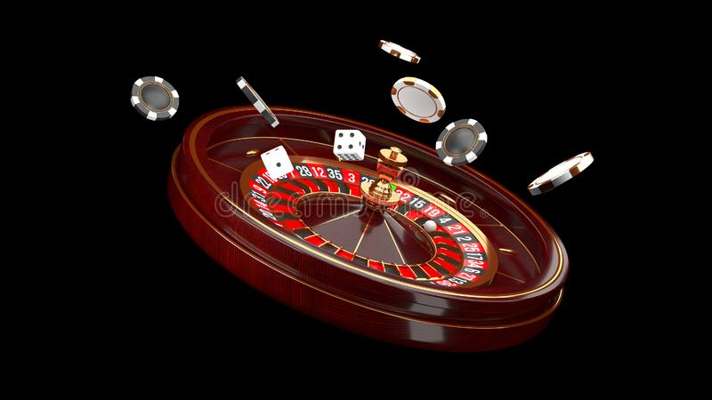 赌博娱乐场背景 在黑背景隔绝的豪华赌博娱乐场轮盘赌的赌轮 赌博娱乐场题材 特写镜头白色赌博娱乐场 库存例证