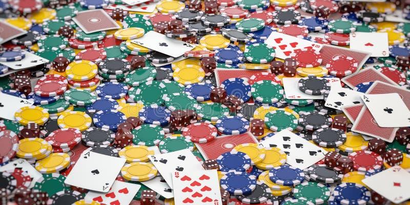 赌博娱乐场芯片、模子和啤牌卡片背景 库存例证