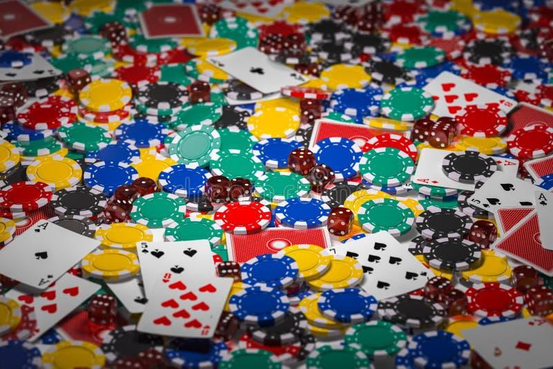 赌博娱乐场芯片、模子和啤牌卡片背景 皇族释放例证
