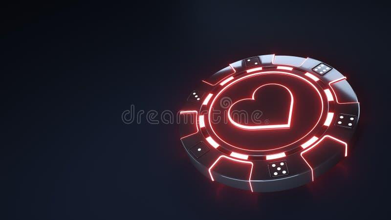 赌博娱乐场芯片与发光的霓虹红灯的心脏概念和把在黑背景隔绝的小点切成小方块- 3D例证 向量例证