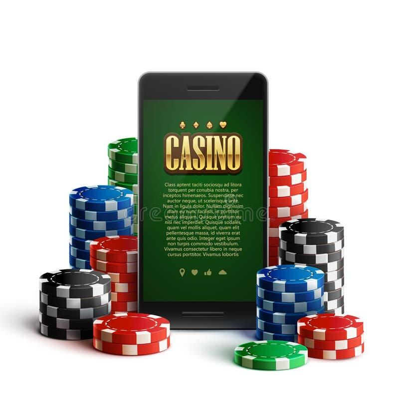 赌博娱乐场芯片和机动性在白色 皇族释放例证