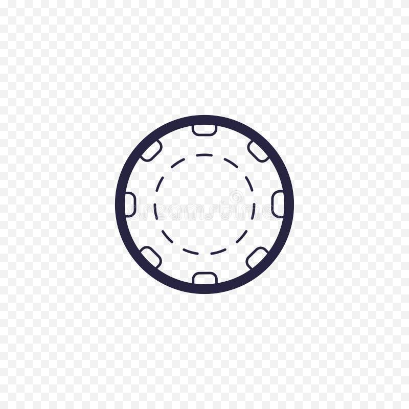 赌博娱乐场芯片简单的线象 扑克牌游戏稀薄的线性标志 概述网站的, infographic,流动应用概念 库存例证