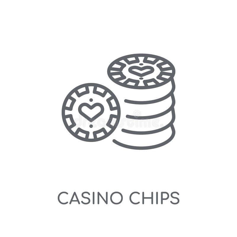 赌博娱乐场芯片线性象 现代概述赌博娱乐场芯片商标conce 向量例证