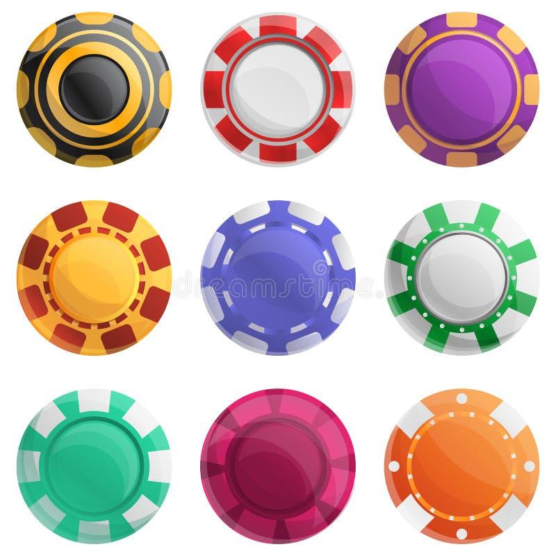 赌博娱乐场芯片象集合,动画片样式 皇族释放例证