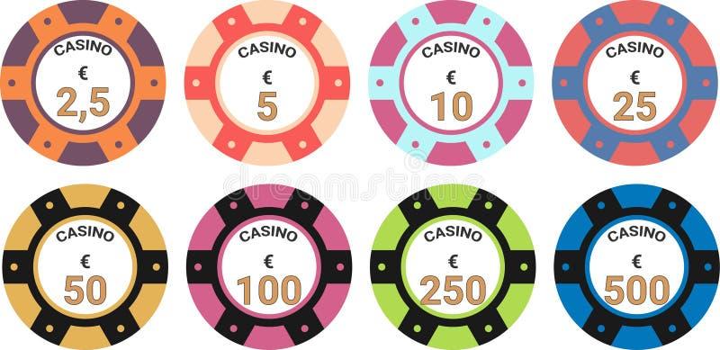 赌博娱乐场芯片集合传染媒介例证欧元 皇族释放例证