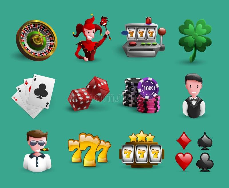 赌博娱乐场被设置的动画片象 皇族释放例证