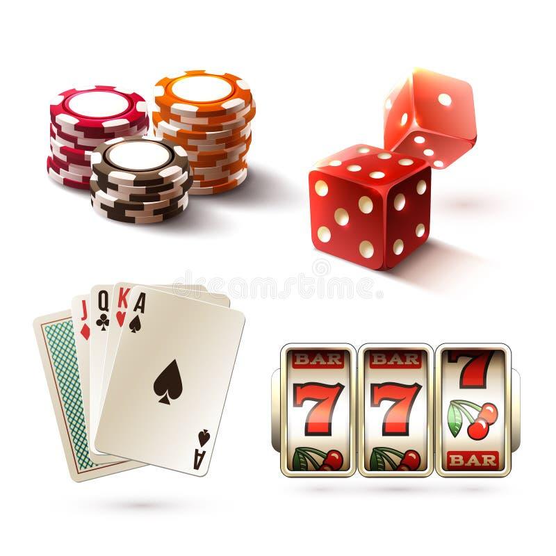 赌博娱乐场设计元素 库存例证