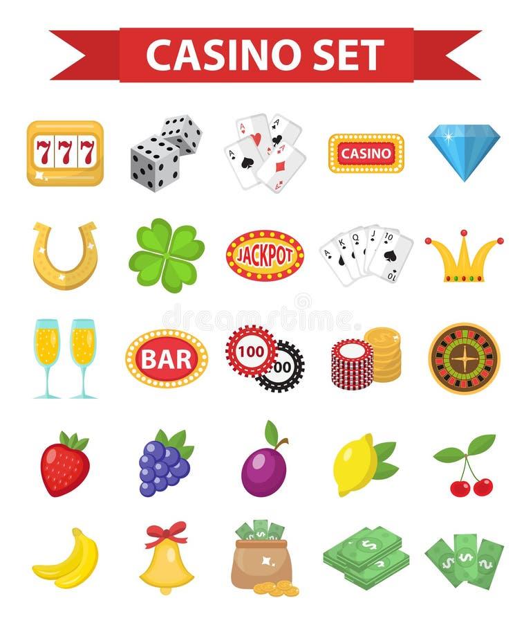 赌博娱乐场象,平的样式 在白色背景隔绝的赌博的集合 啤牌,打牌,吃角子老虎,轮盘赌 皇族释放例证