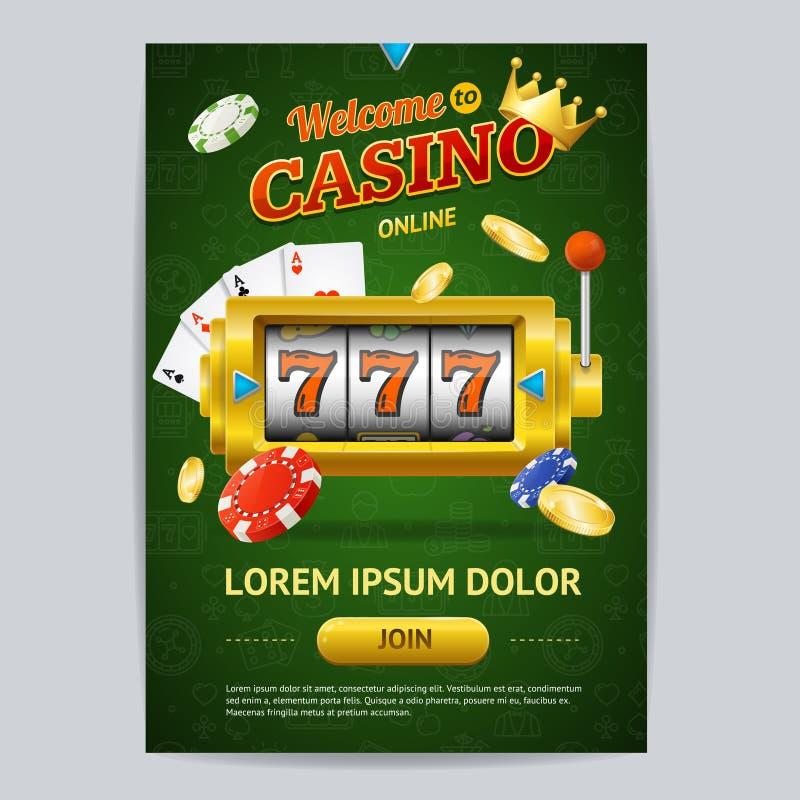 赌博娱乐场赌博游戏海报卡片模板 向量 向量例证