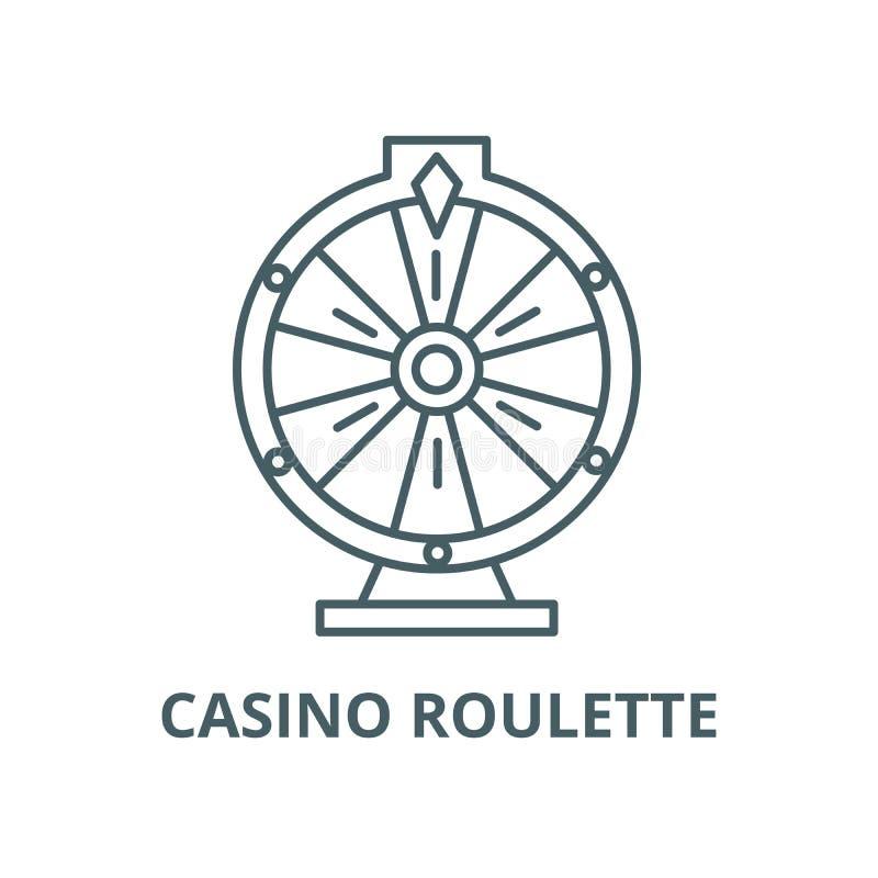 赌博娱乐场轮盘赌传染媒介线象,线性概念,概述标志,标志 库存例证