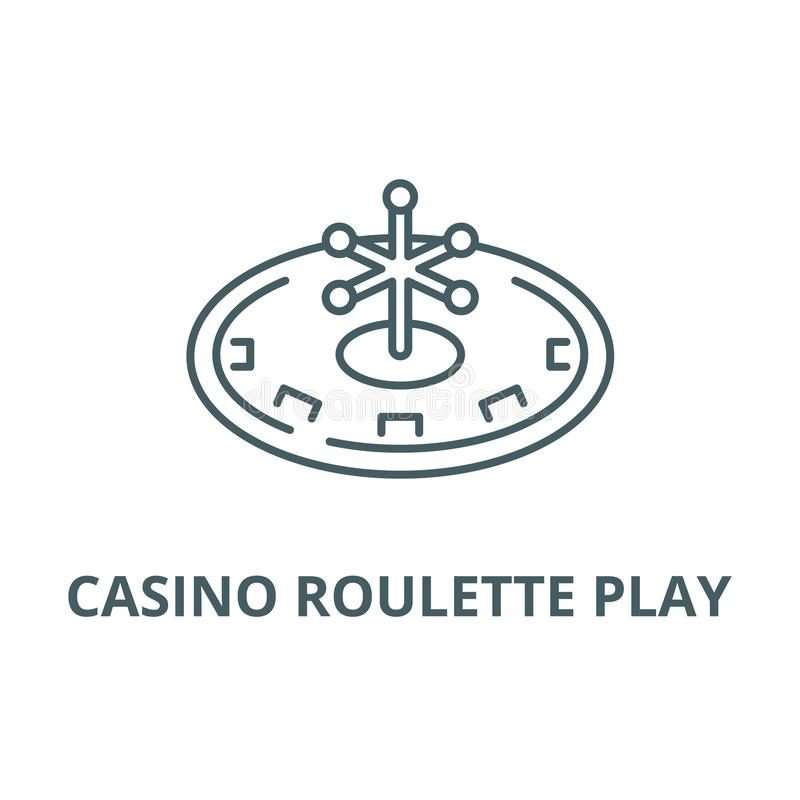 赌博娱乐场轮盘赌戏剧线象,传染媒介 赌博娱乐场轮盘赌戏剧概述标志,概念标志,平的例证 库存例证