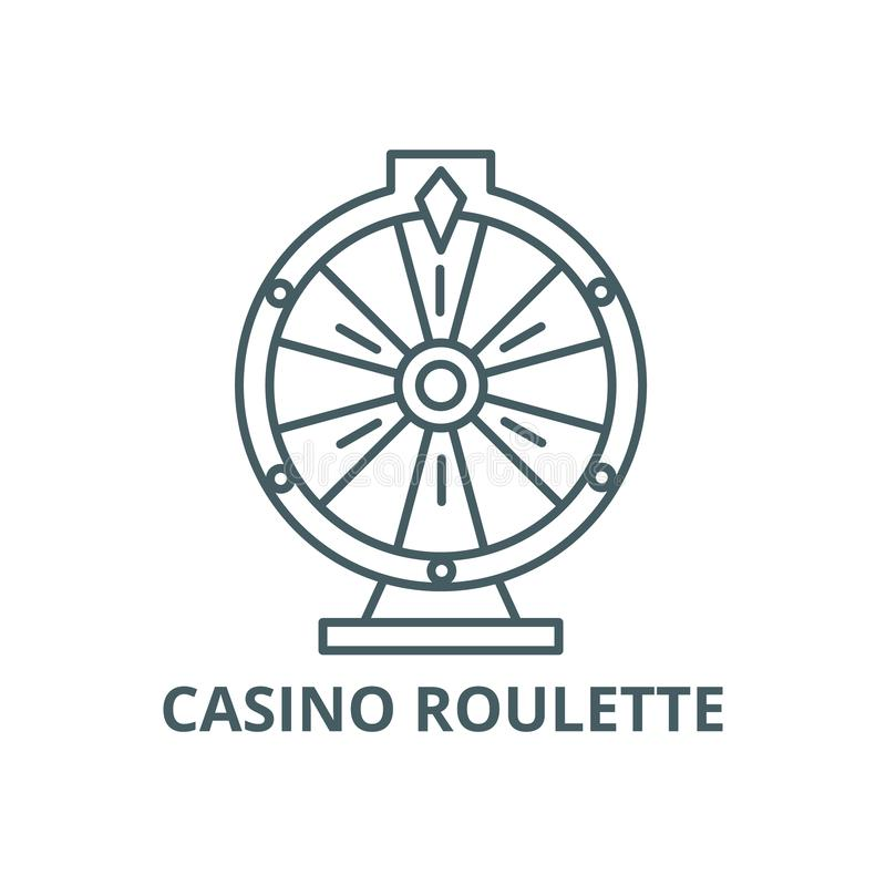 赌博娱乐场轮盘赌线象,传染媒介 赌博娱乐场轮盘赌概述标志,概念标志,平的例证 向量例证