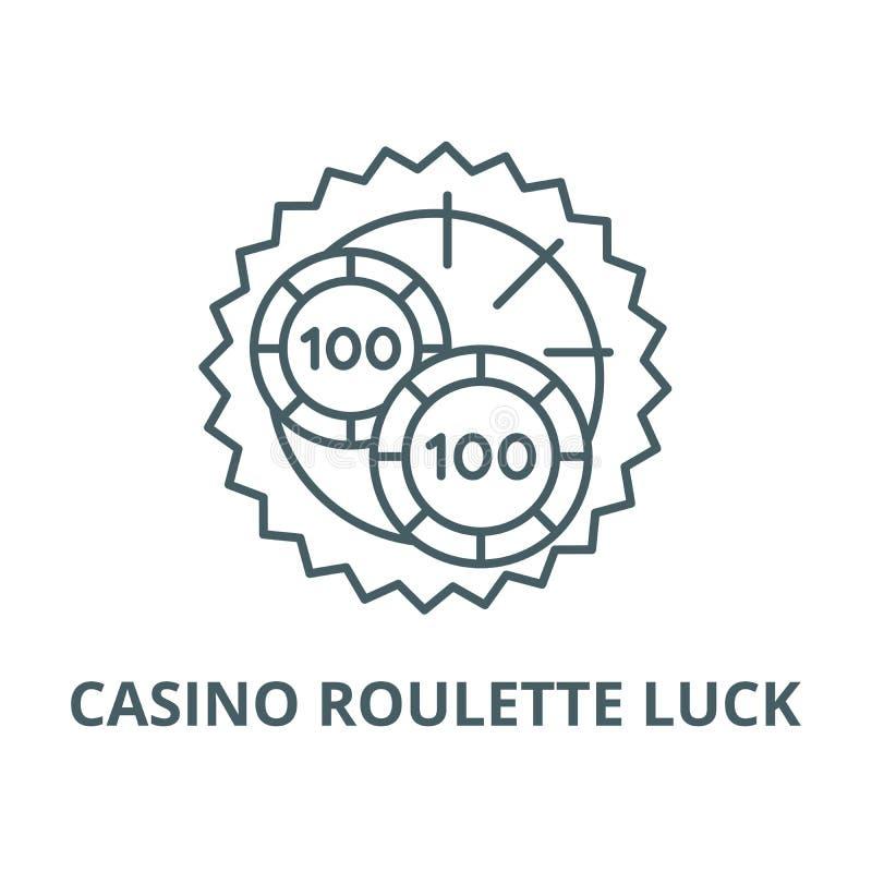 赌博娱乐场轮盘赌运气传染媒介线象,线性概念,概述标志,标志 向量例证