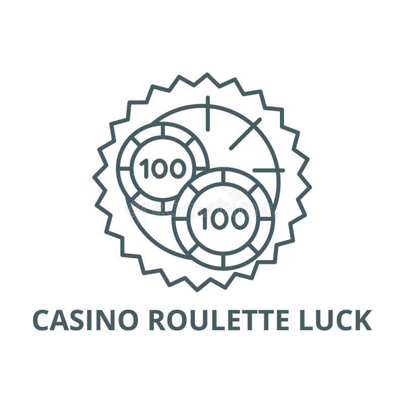 赌博娱乐场轮盘赌运气线象,传染媒介 赌博娱乐场轮盘赌运气概述标志,概念标志,平的例证 皇族释放例证