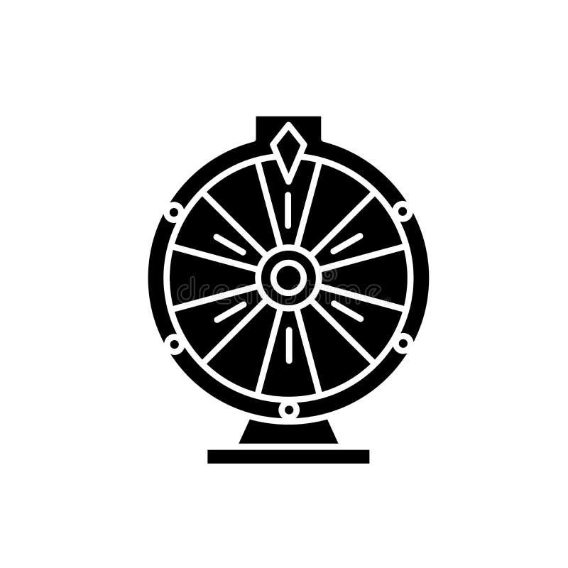 赌博娱乐场轮盘赌黑色象,在被隔绝的背景的传染媒介标志 赌博娱乐场轮盘赌概念标志,例证 库存例证