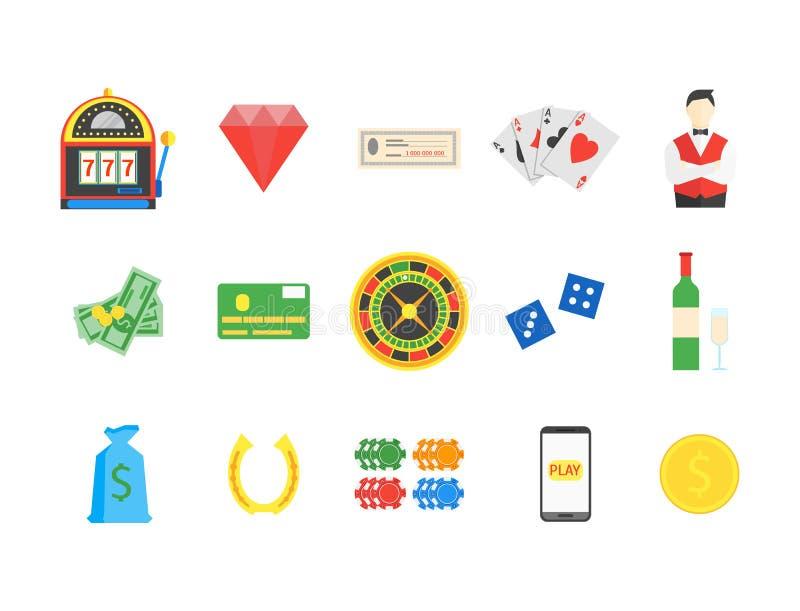 赌博娱乐场集合符号赌博游戏 向量 库存例证