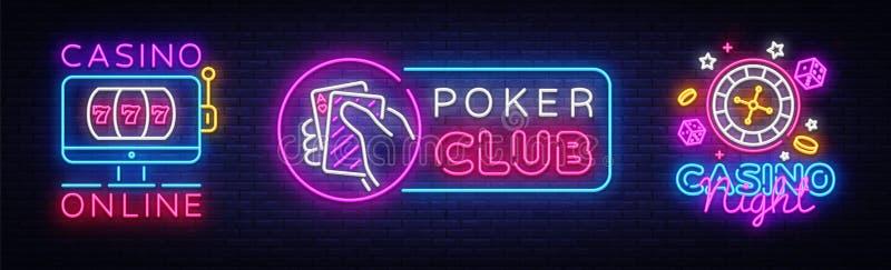 赌博娱乐场霓虹商标汇集传染媒介 啤牌俱乐部霓虹灯广告,设计模板,网上赌博娱乐场,现代趋向设计,赌博娱乐场 皇族释放例证