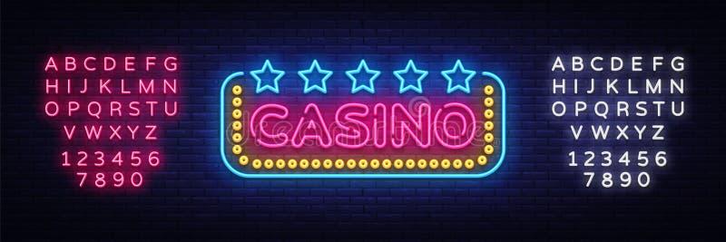 赌博娱乐场霓虹灯广告传染媒介设计模板 赌博娱乐场霓虹商标,轻的横幅设计元素五颜六色的现代设计趋向 向量例证