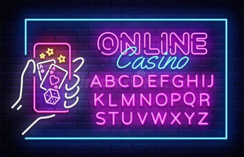 赌博娱乐场霓虹灯广告传染媒介设计模板 赌博娱乐场网上霓虹框架,轻的横幅设计元素五颜六色的现代设计 皇族释放例证