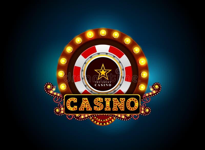 赌博娱乐场霓虹灯标志 库存例证