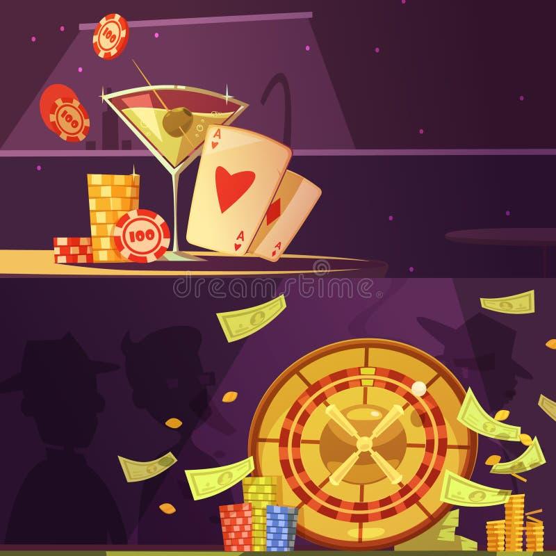 赌博娱乐场颜色横幅 向量例证