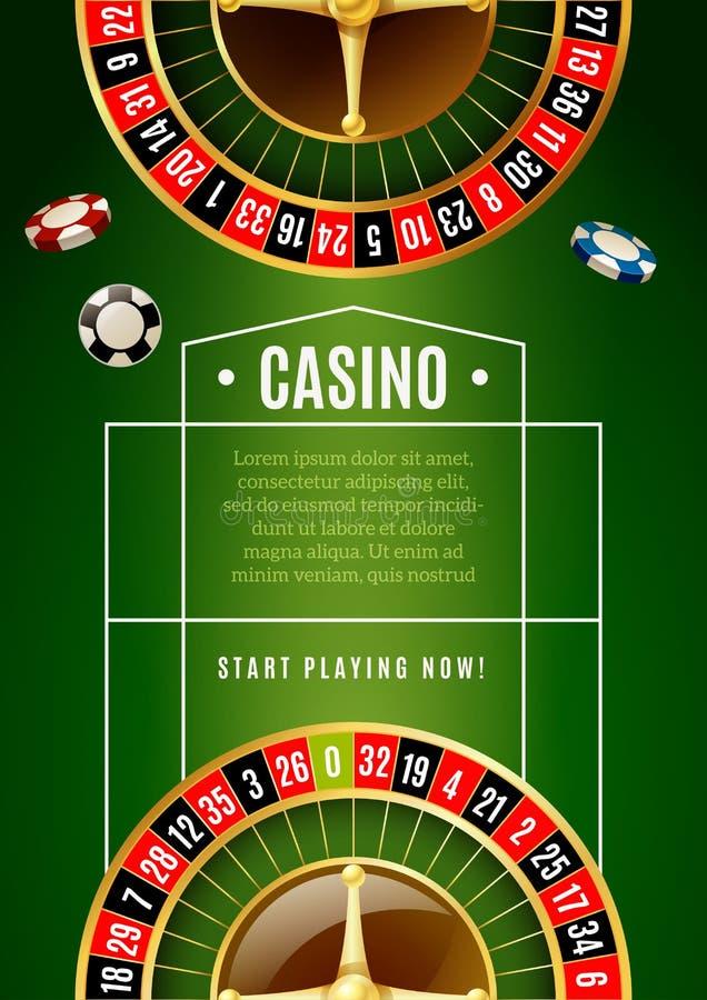 赌博娱乐场经典轮盘赌比赛广告海报 库存例证