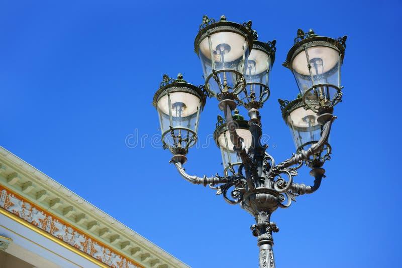 赌博娱乐场Kurhaus Baden-Baden的路灯柱 库存照片