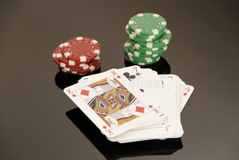赌博的啤牌 库存图片