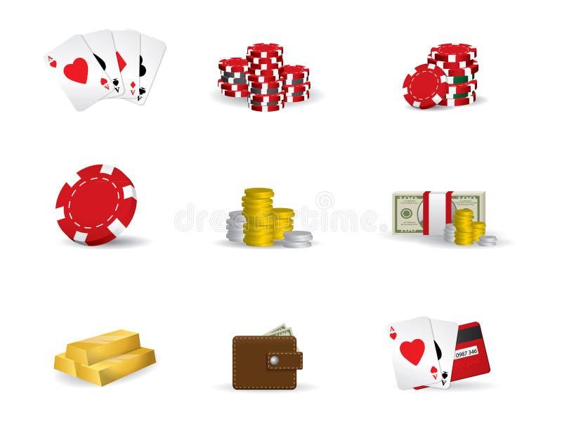 赌博的图标啤牌集 向量例证