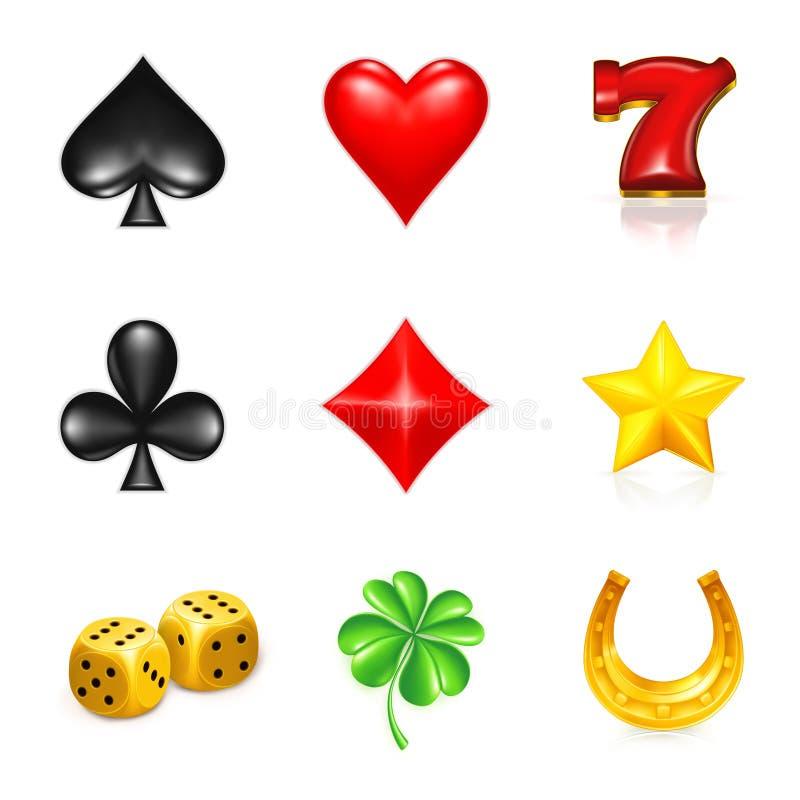 赌博的图标运气集 皇族释放例证